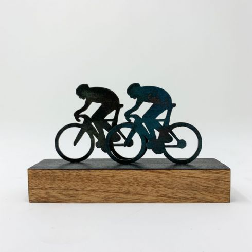 David Mayne Sculptor - 'The Race' Miniature Bicycle Steel & Wood Sculpture